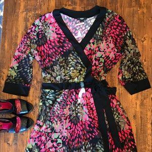 Alfani Woman Faux Wrap 3/4 Sleeve Dress